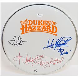 """John Schneider, Tom Wopat,  Catherine Bach Signed """"The Dukes of Hazzard"""" 12"""" Drumhead with (3) Chara"""
