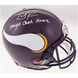 "Randy Moss Signed Minnesota Vikings Full-Size Authentic On-Field Helmet Inscribed ""Straight Cash Hom"