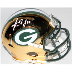 Aaron Jones Signed Green Bay Packers Chrome Mini Speed Helmet (Beckett COA)
