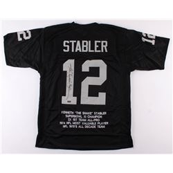 "Ken ""Snake"" Stabler Signed Oakland Raiders Career Highlight Stat Jersey (Radtke COA)"