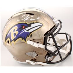 Ray Lewis  Ed Reed Signed Baltimore Ravens Full-Size Chrome Speed Helmet (Beckett COA)