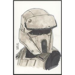 "Tom Hodges - Imperial Tanktrooper ""Star Wars"" Signed ORIGINAL 5.5"" x 8.5"" Color Drawing on Paper (1/"