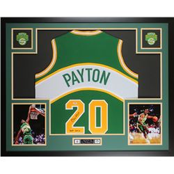 "Gary Payton Signed Seattle SuperSonics 35x43 Custom Framed Jersey Display Inscribed ""HOF 13"" (PSA CO"