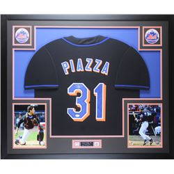 Mike Piazza Signed Mets 35x43 Custom Framed Jersey Display (JSA COA)
