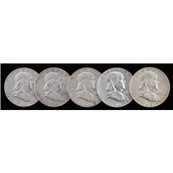 Lot of (5) Franklin Silver Half-Dollars with 1957, 1958-D, 1960-D, 1962-D,  1963-D