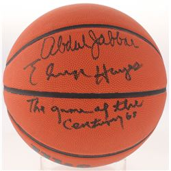 "Kareem Abdul  Elvin Hayes Signed Basketball Inscribed ""The Game of the Century"" (Schwartz COA)"