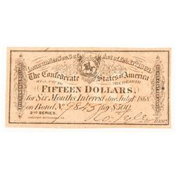 1864 $15 Fifteen-Dollar Confederate States of America Richmond CSA Bank Note Bond