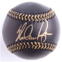 Nolan Ryan Signed Black Leather OML Baseball (Beckett COA  Ryan Hologram)