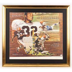 Jim Brown Signed LE Cleveland Browns 27.5x30 Custom Framed Lithograph Display (JSA COA)