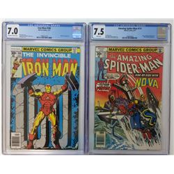 Lot of (2) CGC Graded Marvel Comic Books with 1977 The Amazing Spider-Man #171 (7.5)  1977 Iron Man