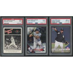 Lot of (3) New York Yankees PSA Graded Baseball Cards with 2001 Fleer Platinum #492 Mariano Rivera,