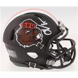 Chad Johnson Signed Oregon State Beavers Matte Black Speed Mini-Helmet (Radtke COA)