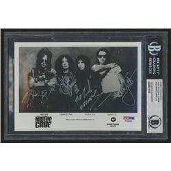 """Motley Crue"" 5x7 Photo Signed by (4) with Tommy Lee, John Corabi, Mick Mars  Nikki Sixx (BGS Encaps"