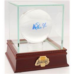 Magic Johnson Signed Lead Crystal Basketball with Display Case (PSA COA)