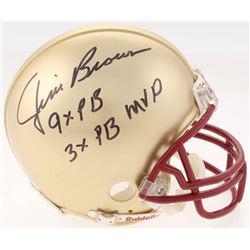 "Jim Brown Signed Gold Mini-Helmet Inscribed ""9x PB""  ""3x PB MVP"" (SGC COA)"