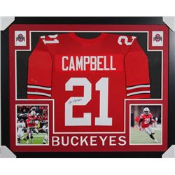 Parris Campbell Signed Ohio State Buckeyes 35x43 Custom Framed Jersey (JSA COA)