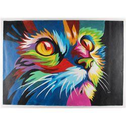 "Rodney Weng - ""Cuddly Kitten"" Signed 25.5x36 Original Oil Panting on Linen (PA LOA)"