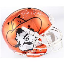 Barry Sanders Signed Oklahoma State Cowboys Full-Size Chrome Helmet (Schwartz COA)