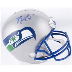 """Steve Largent Signed Seattle Seahawks Full-Size Throwback Helmet Inscribed """"HOF '95"""" (Schwartz COA)"""