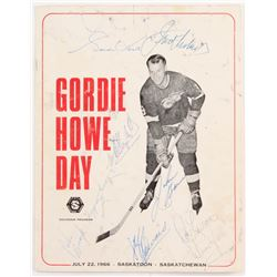 Gordie Howe Day Souvenir Program Signed by (7) With Gordie Howe, Johnny Bower, Johnny Bucyk, Clarenc
