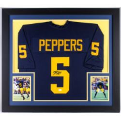 Jabrill Peppers Signed Michigan Wolverines 31x35 Custom Framed Jersey (JSA COA)