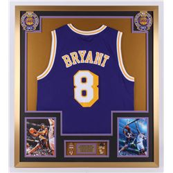 Kobe Bryant Los Angeles Lakers 32x36 Custom Framed Jersey with Championship Pins