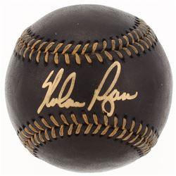 Nolan Ryan Signed OML Black Leather Baseball (AI Verified COA  Ryan Hologram)