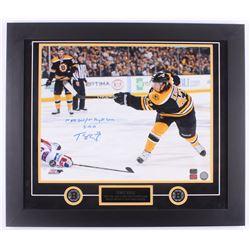 "Torey Krug Signed Bruins 23x27 Custom Framed Photo Display Inscribed ""1st NHL Goal / 1st Playoff Gam"
