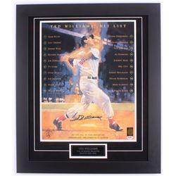 "Ted Williams Signed Red Sox ""Hit List"" 23.25x27.25 Custom Framed Photo Display (PSA LOA  Williams Ho"