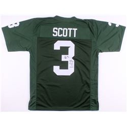 "LJ Scott Signed Michigan State Spartans Jersey Inscribed ""2855 Rush Yds"", ""29 Career TDs"",  ""Go Gree"