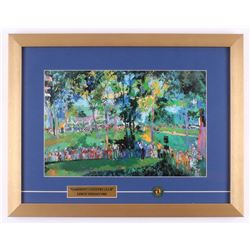 "LeRoy Neiman ""Oakmont Country Club"" 16x20.5 Custom Framed Print Display with Vintage Pin"