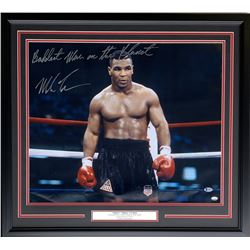 """Mike Tyson Signed 25x30 Custom Framed Photo Display Inscribed """"Baddest Man on the Planet"""" (Beckett H"""