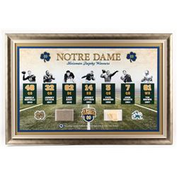 Notre Dame Fighting Irish Heisman Winners 24x36 Custom Framed Display with Authentic Stadium Bench