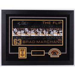 "Brad Marchand Signed Bruins ""The Flip"" 25.5x33.25 Custom Framed Photo Display (Marchand Hologram)"