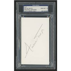 Willie Mays Signed 3x5 Cut (PSA Encapsulated)