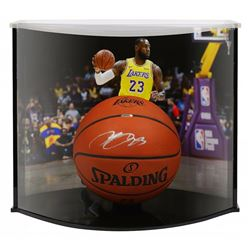 LeBron James Signed Los Angeles Lakers Custom Engraved Spalding Basketball with Curve Display Case (
