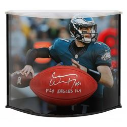 """Carson Wentz Signed """"The Duke"""" Official NFL Game Ball Inscribed """"AO1""""  """"Fly Eagles Fly"""" with Curve D"""
