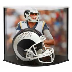 Jared Goff Signed Los Angeles Rams Full-Size Helmet with Curve Display Case (Fanatics Hologram)