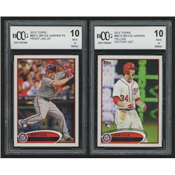 Lot of (2) BCCG Graded 10 2012 Topps Bryce Harper RC Baseball Cards with #661C  #661D