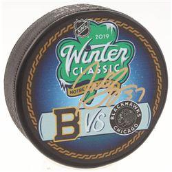 Patrice Bergeron Signed Boston Bruins vs Chicago Blackhawks 2019 Winter Classic Logo Hockey Puck (Be