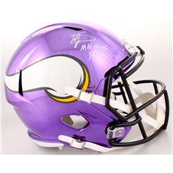 "Stefon Diggs Signed Minnesota Vikings Full-Size Purple Chrome Speed Helmet Inscribed ""MN Miracle 1-1"