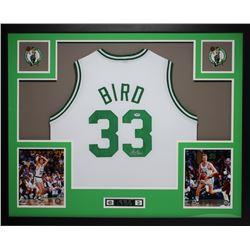 "Larry Bird Signed Celtics 35"" x 43"" Custom Framed Jersey (PSA COA)"