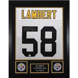 Jack Lambert Signed Pittsburgh Steelers 24x30 Custom Framed Jersey (JSA COA  Lambert Hologram)