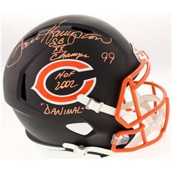 Dan Hampton Signed Chicago Bears Custom Matte Black Speed Helmet With (3) Inscriptions (Schwartz COA