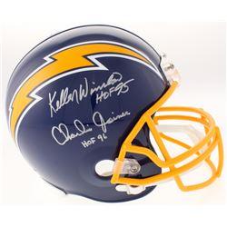 "Kellen Winslow  Charlie Joiner Signed San Diego Chargers Full-Size Throwback Helmet Inscribed ""HOF 9"