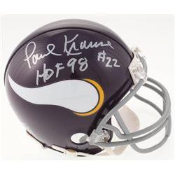 """Paul Krause Signed Minnesota Vikings Mini Helmet Inscribed """"HOF 98"""" (JSA COA)"""