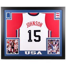 Magic Johnson Signed Team USA 35x43 Custom Framed Jersey (Beckett COA)