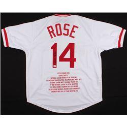 "Pete Rose Signed Cincinnati Reds ""Hit King"" Career Highlight Stat Jersey (JSA COA)"