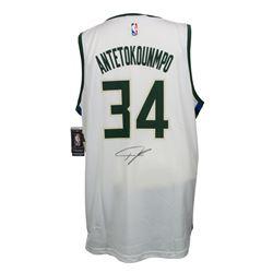 Giannis Antetokounmpo Signed Milwaukee Bucks Fanatics NBA Replica Jersey (JSA COA)