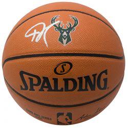 Giannis Antetokounmpo Signed Milwaukee Bucks Logo NBA Game Ball Series Basketball (JSA COA)